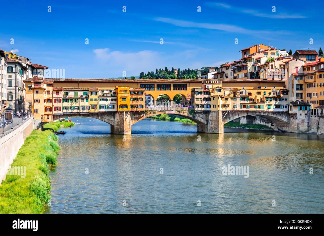 Florence, Italy. River Arno and famous bridge Ponte Vecchio at sunset (Italian: Firenze, Toscana). - Stock Image
