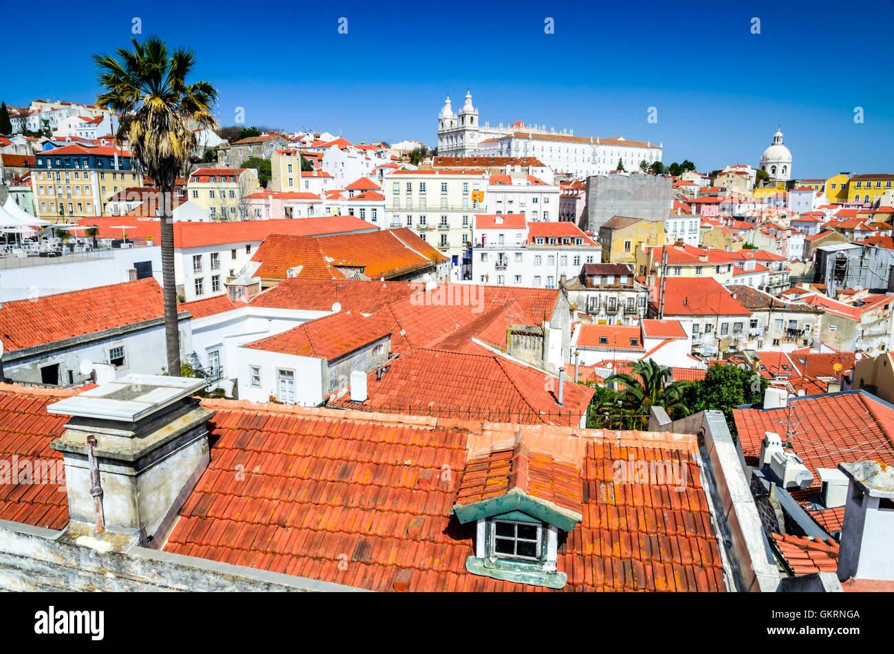 Lisbon, Portugal. Cityscape with traditional architecture, Alfama district, Lisboa, portuguese capital. - Stock Image
