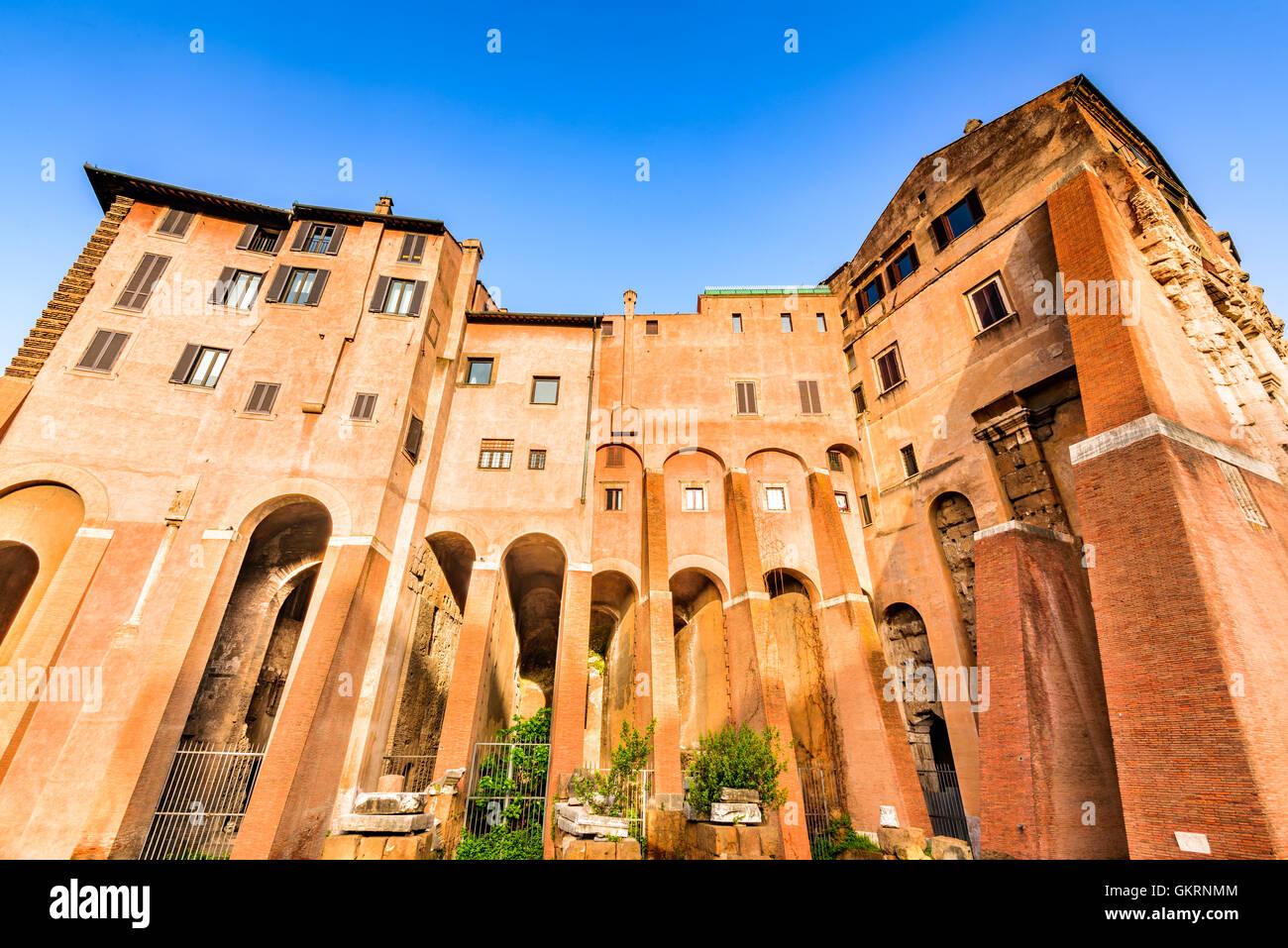 Rome, Italy. Morning  view to the Theatre of Marcellus (Italian: Teatro di Marcello) built in early Roman Republic. - Stock Image