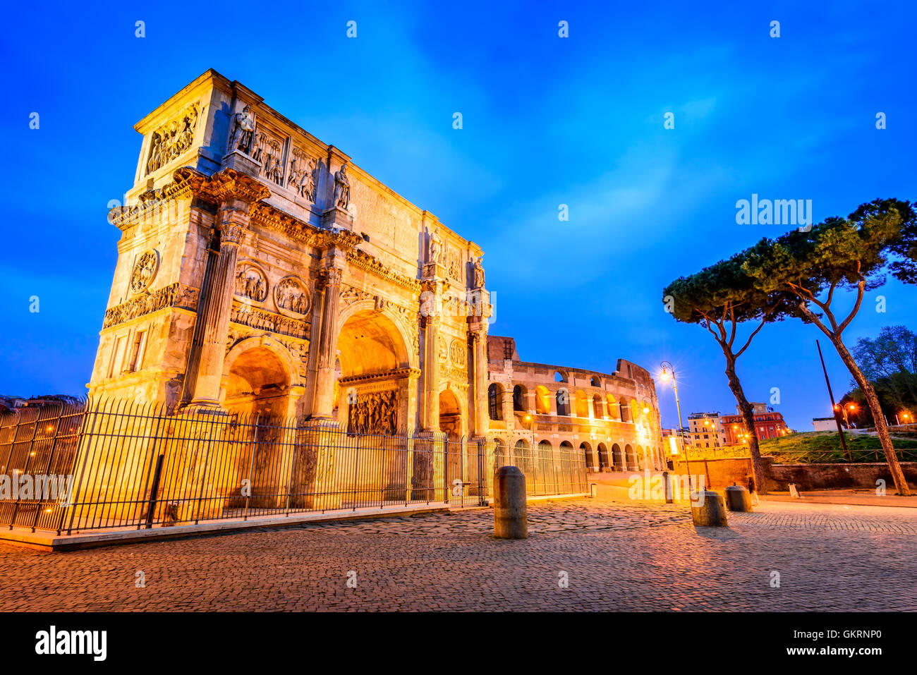 Rome, Italy. Arch of Constantine, commemorate emperor victory over Maxentius in 312AD, Roman Empire civil war. Stock Photo