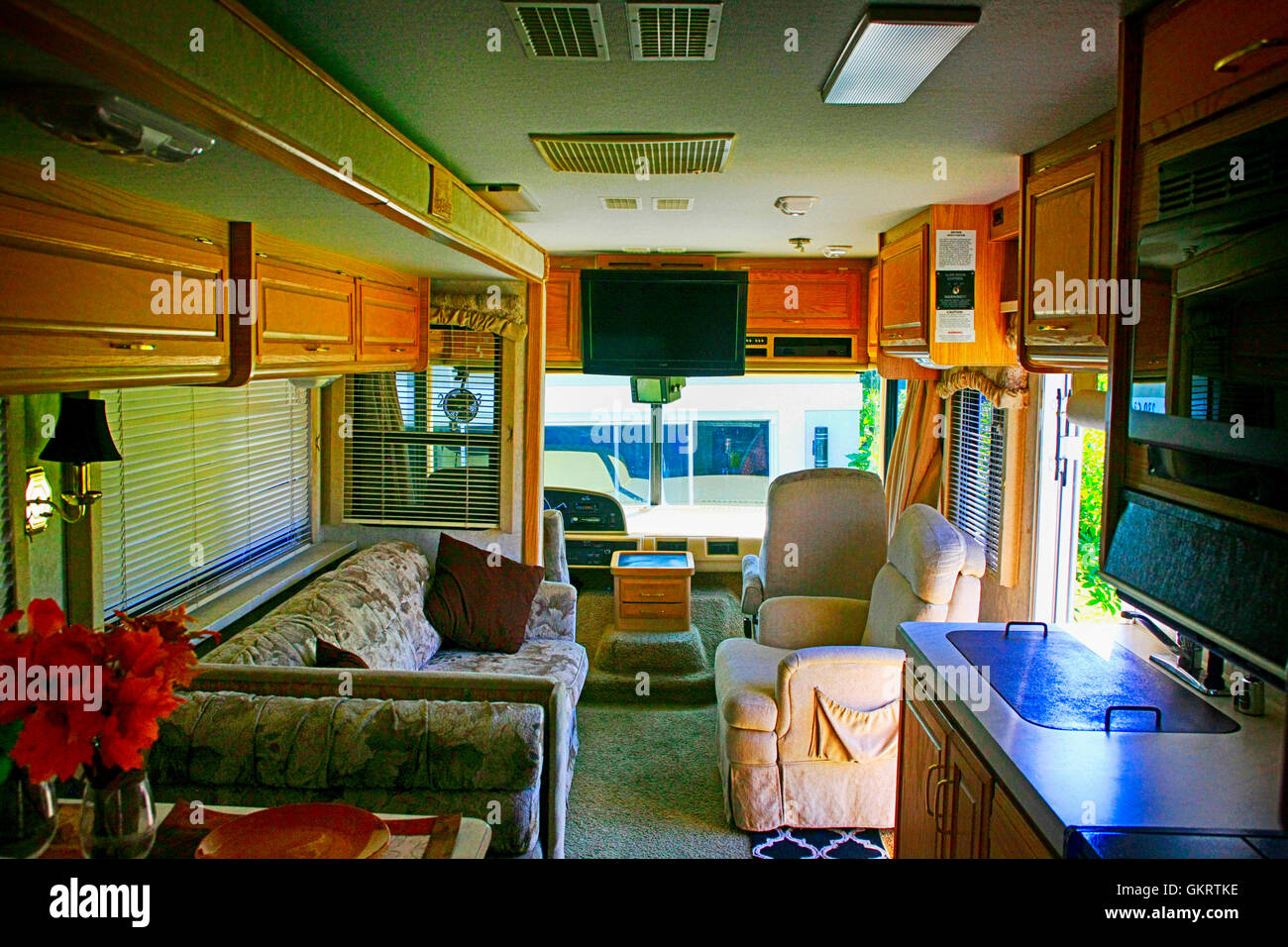 Interior View Facing Forward In A 32ft Class Motorhome Florida