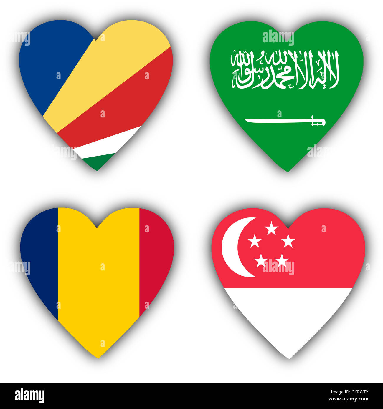 Flags in the shape of a heart, coutries - Stock Image