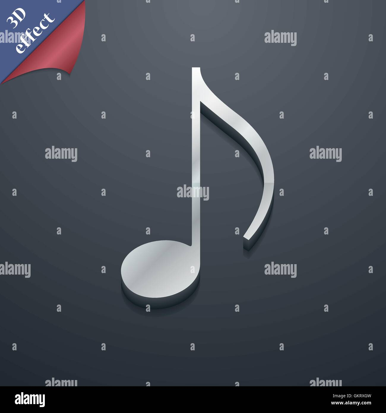 musical note, music, ringtone icon symbol  3D style  Trendy