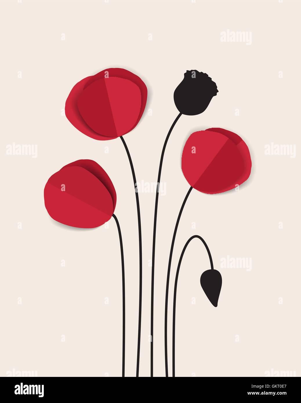 Red Poppy - Stock Vector