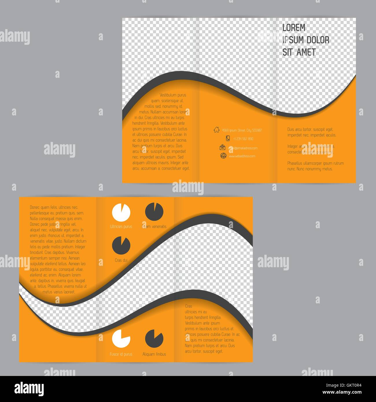 cool wave design tri fold flyer brochure template stock vector art