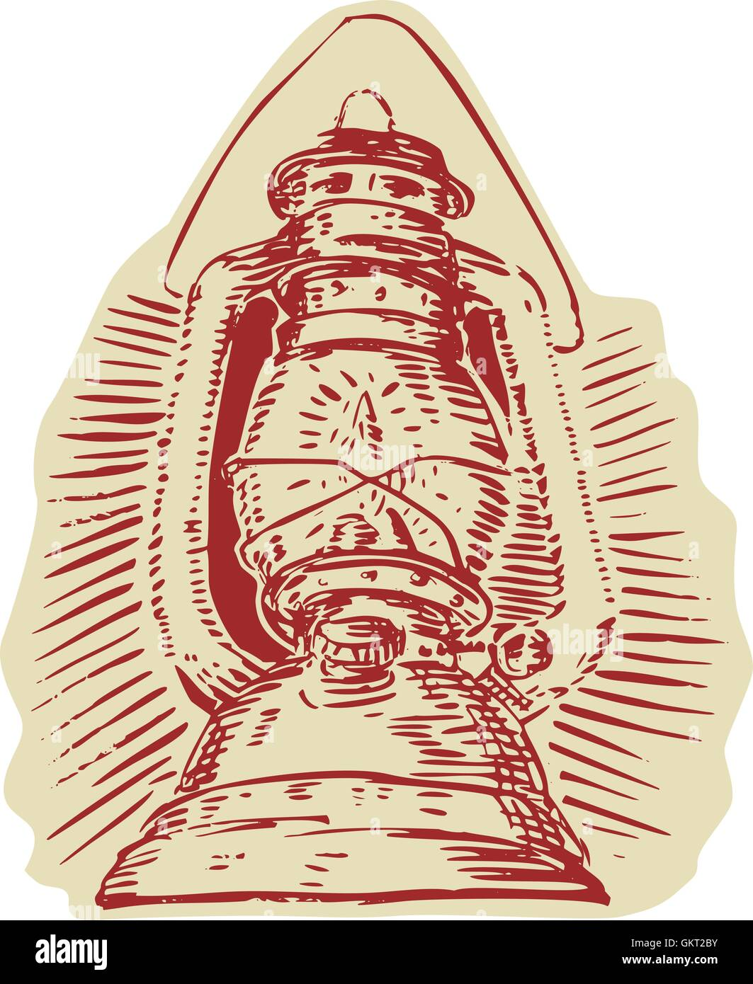 Kerosene Lamp Etching - Stock Vector