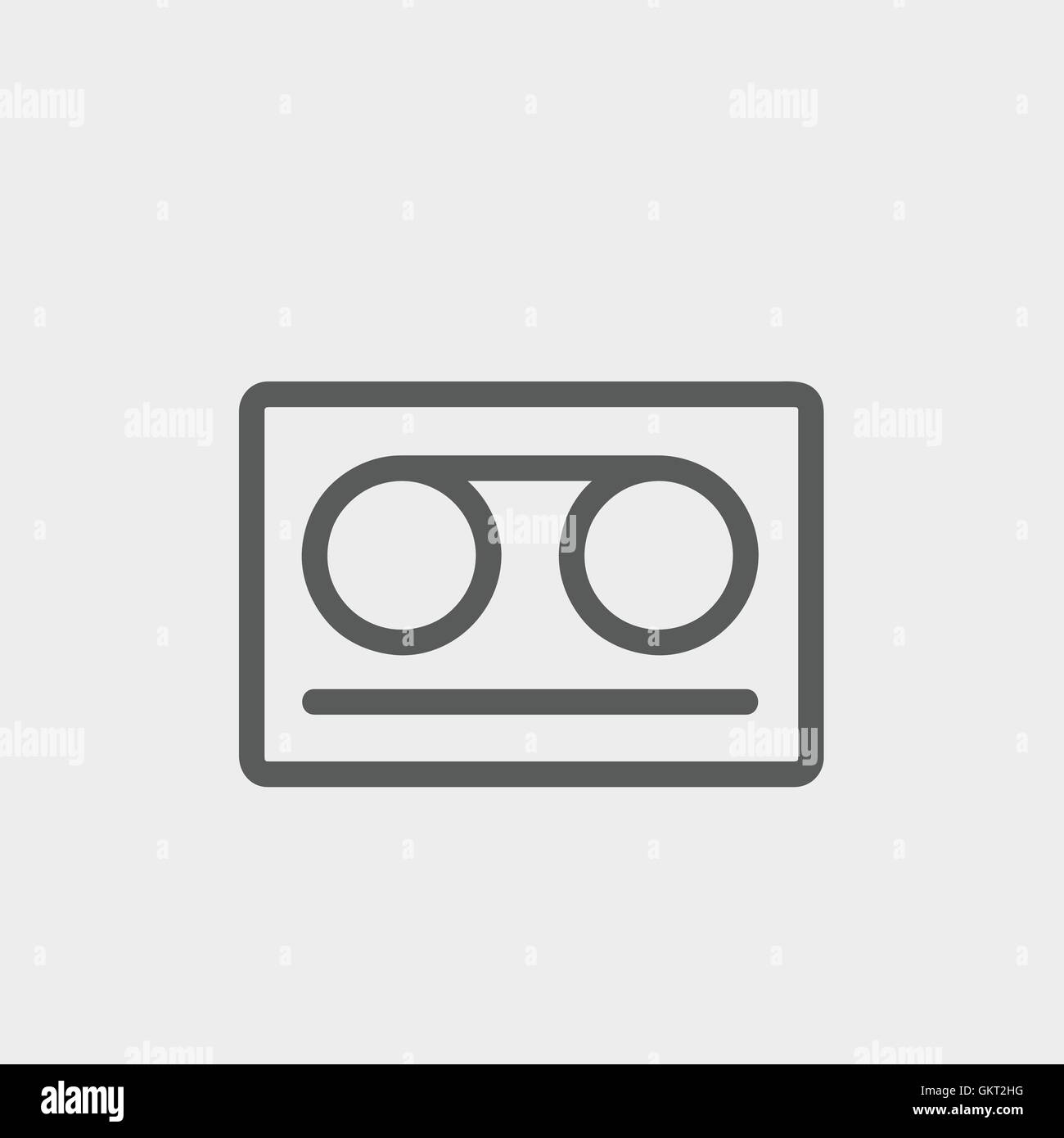 Cassette tape thin line icon - Stock Vector
