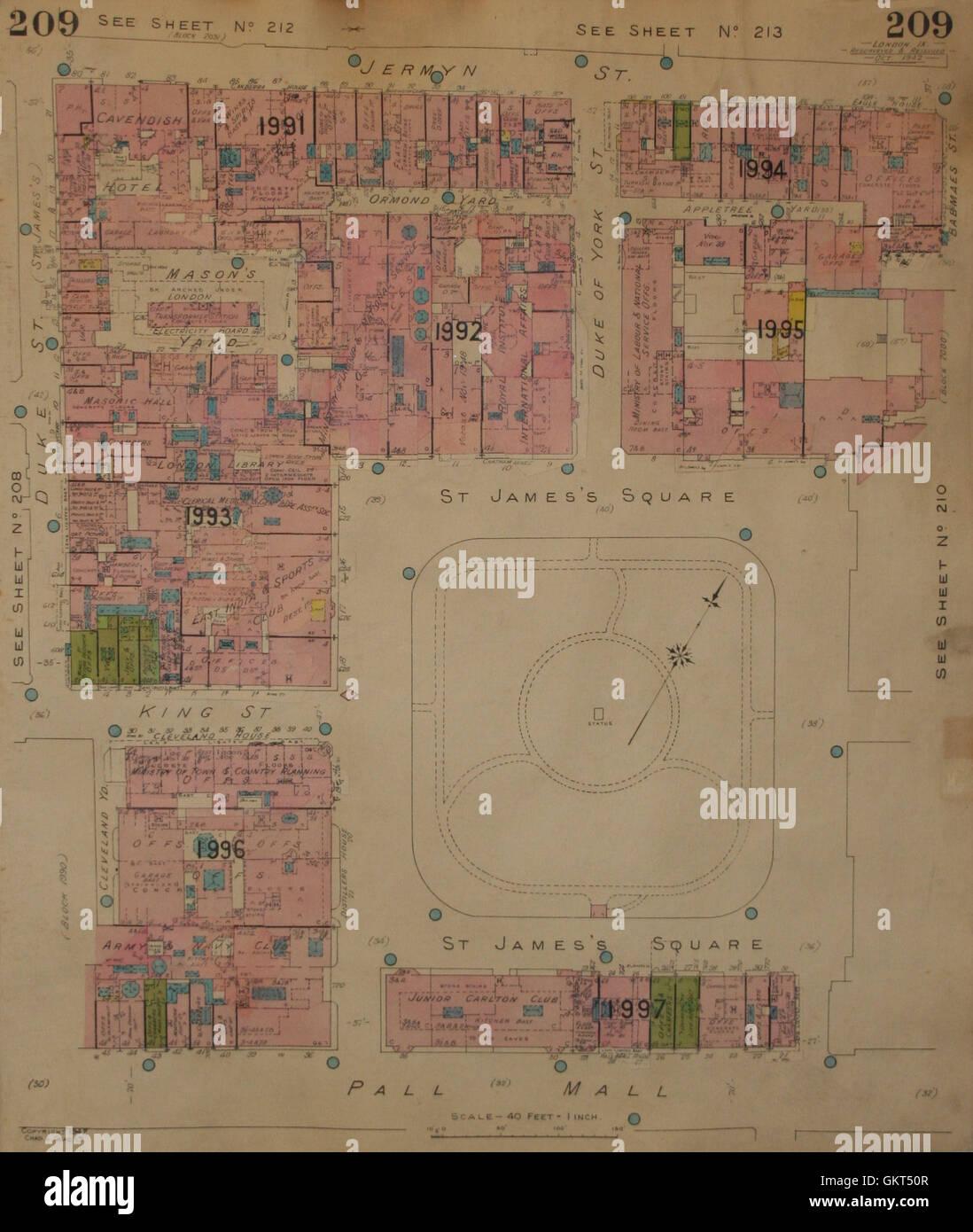 GOAD MAP:SW1:St James's Sq Pall Mall Jermyn St Duke York Mason's Yd King 1942 - Stock Image