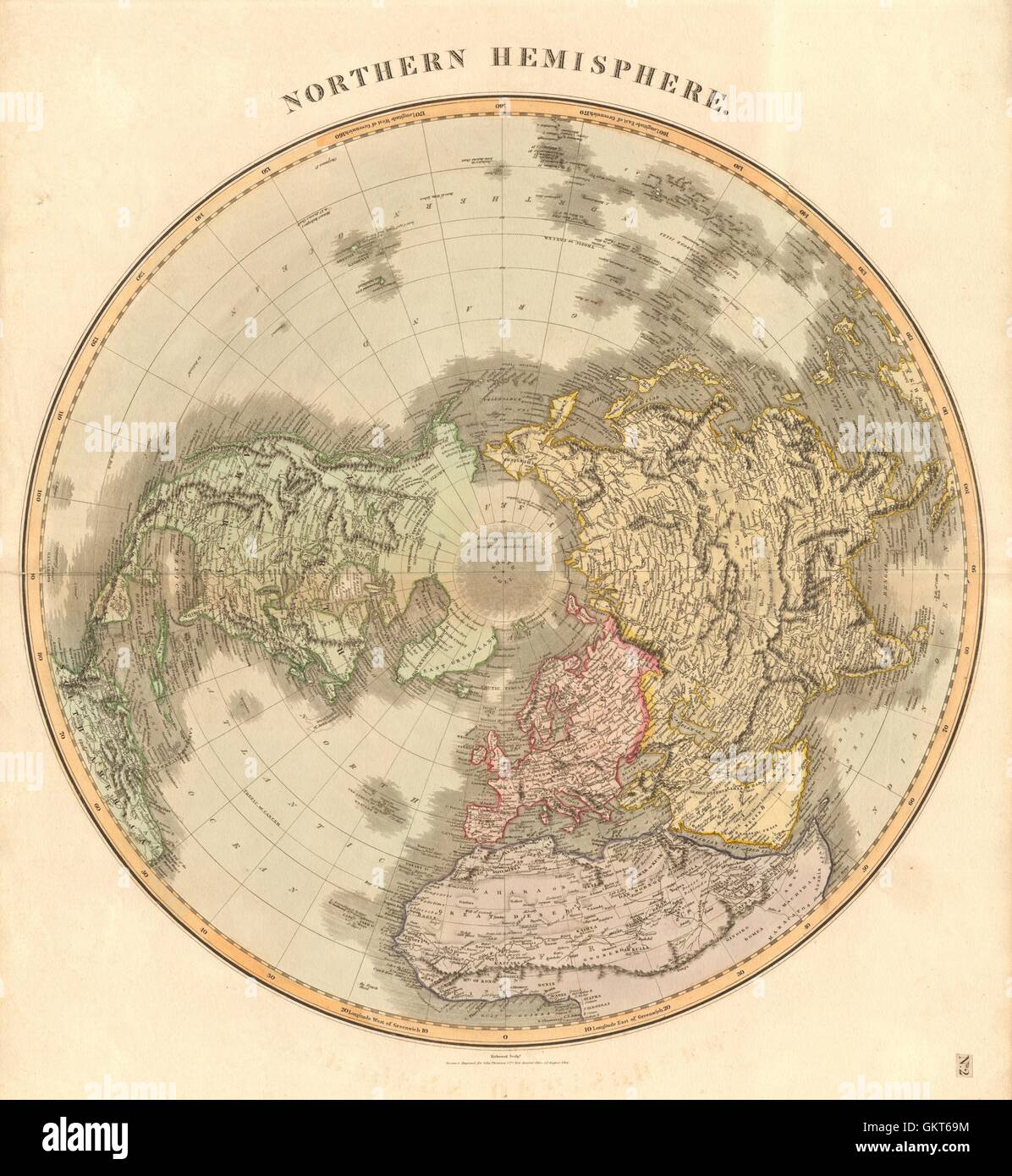 The northern hemisphere on the polar projection by robert kirkwood the northern hemisphere on the polar projection by robert kirkwood 1814 map gumiabroncs Image collections