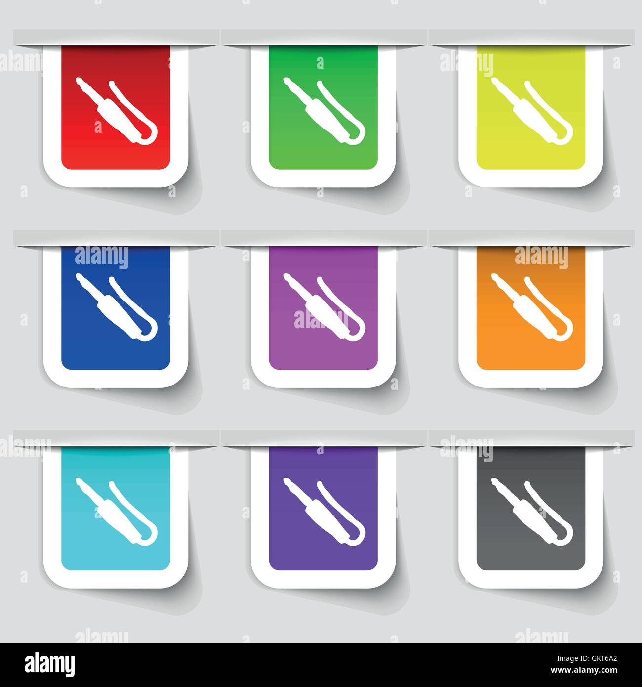 plug, mini jack icon sign. Set of multicolored modern labels for your design. Vector Stock Vector