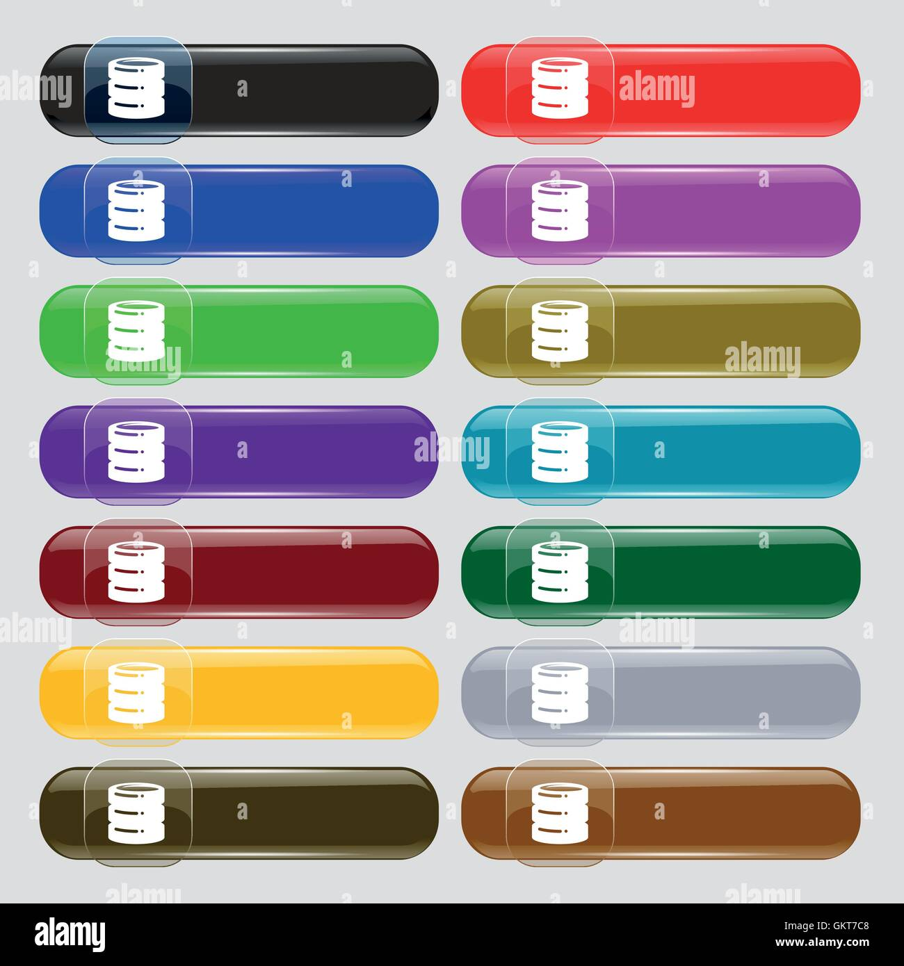 hard disk icon sign. Big set of 16 colorful modern buttons for your design. Vector - Stock Image