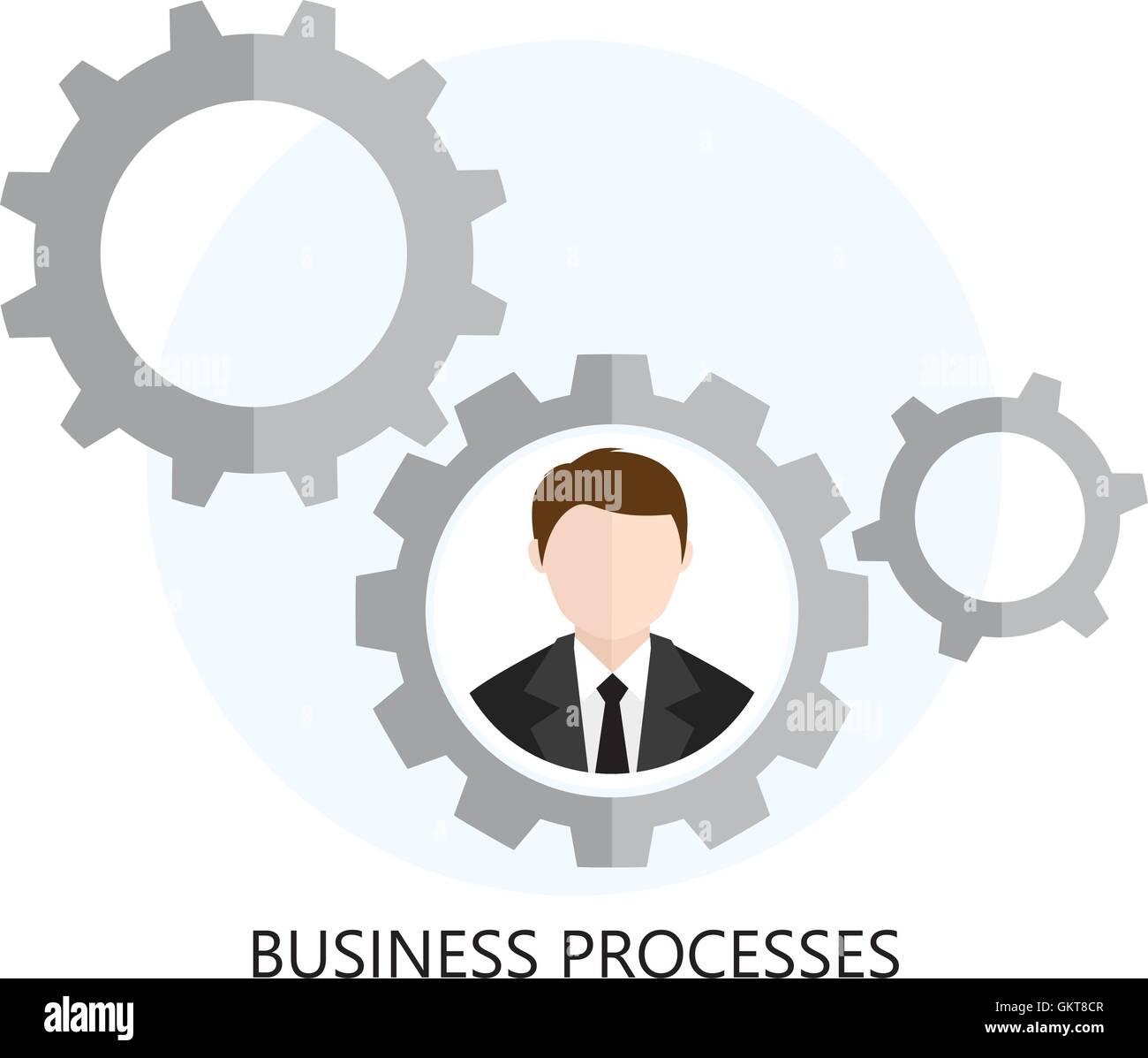 Business Processes Icon Flat design  Concept - Stock Image