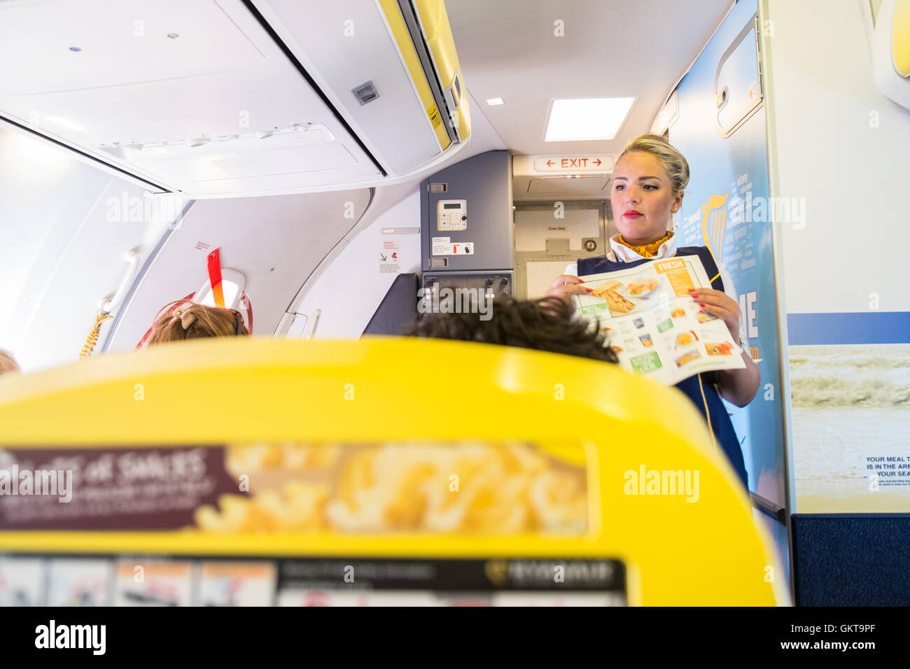 On Board In Cabin On Ryanair Flight From Carcassonnefrance To Stock