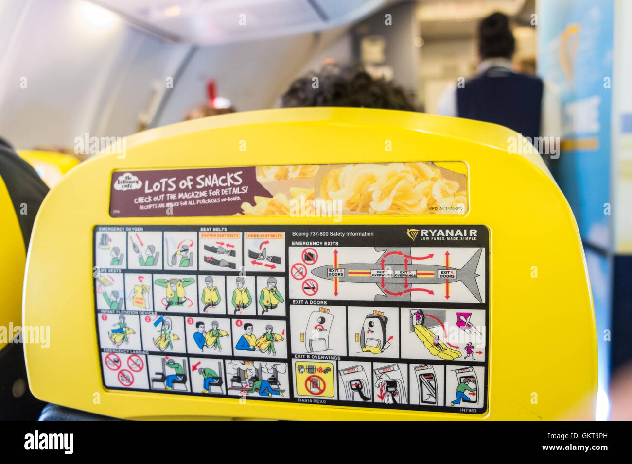 On Board In Cabin On Ryanair Flight From Carcassonne Stock Photos