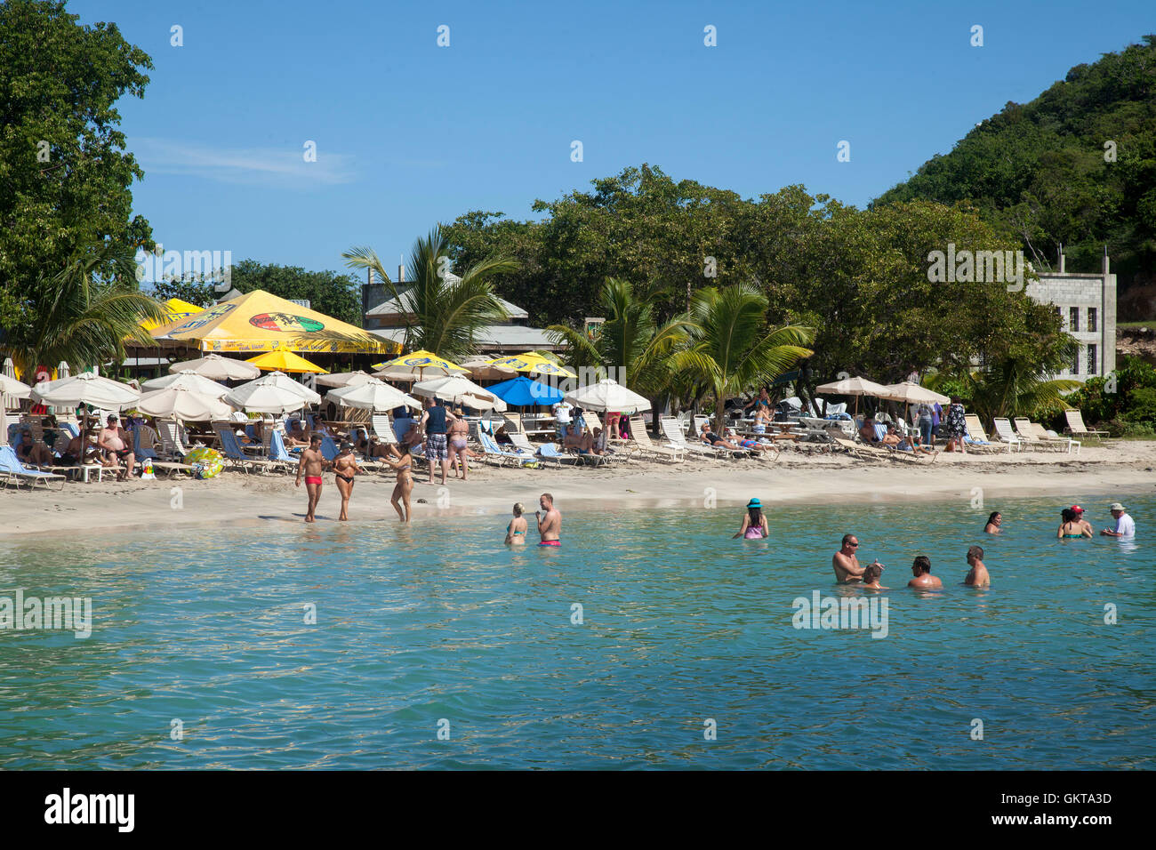 Reggae beach at Cockleshell Bay in St.Kitts - Stock Image