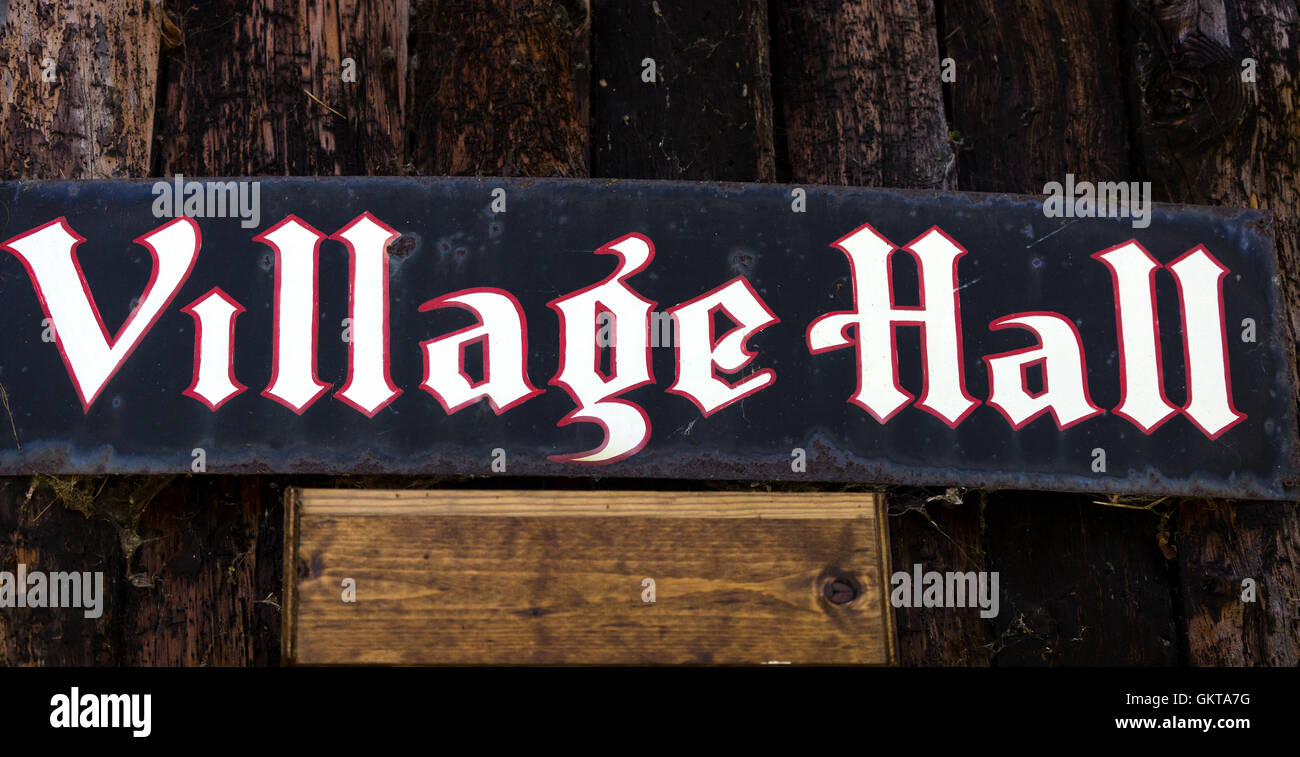 Village Hall sign. Norfolk. UK - Stock Image