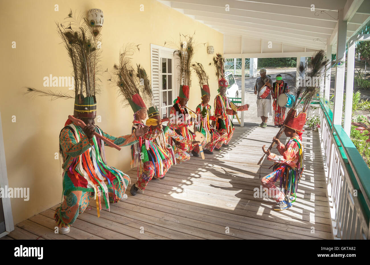 Dancers  in traditional costume visit villas at Xmas - Stock Image