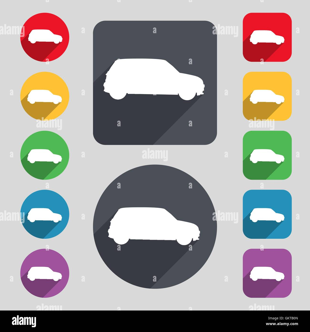 Jeep icon sign. A set of 12 colored buttons and a long shadow. Flat design. Vector - Stock Image