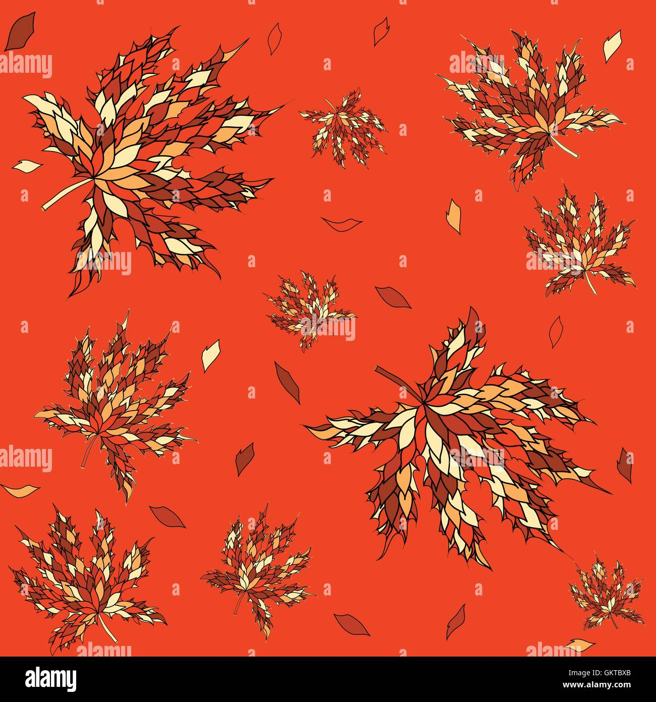Maple leaves seamless pattern. - Stock Vector