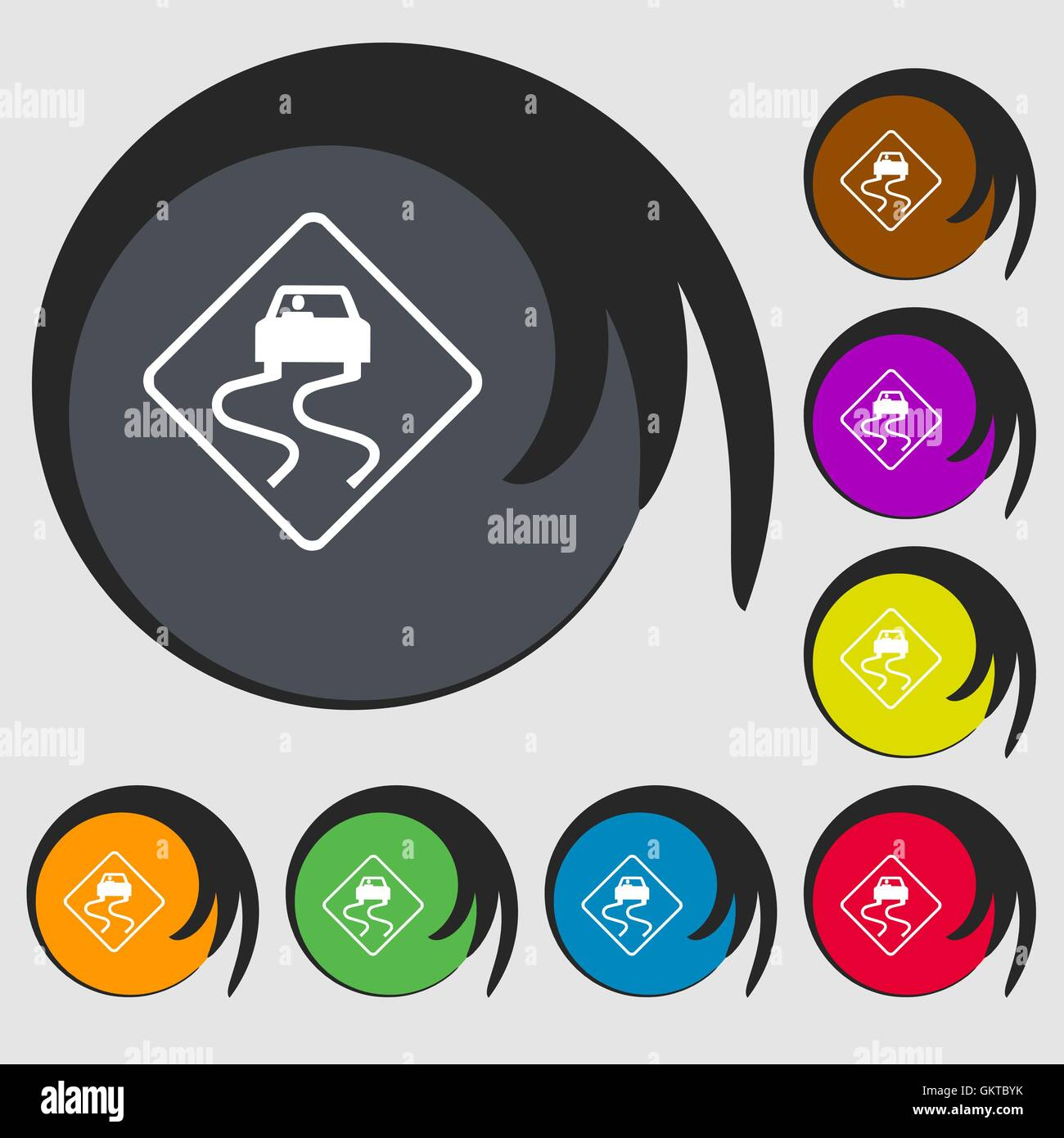 Road slippery icon sign. Symbol on eight colored buttons. Vector - Stock Image