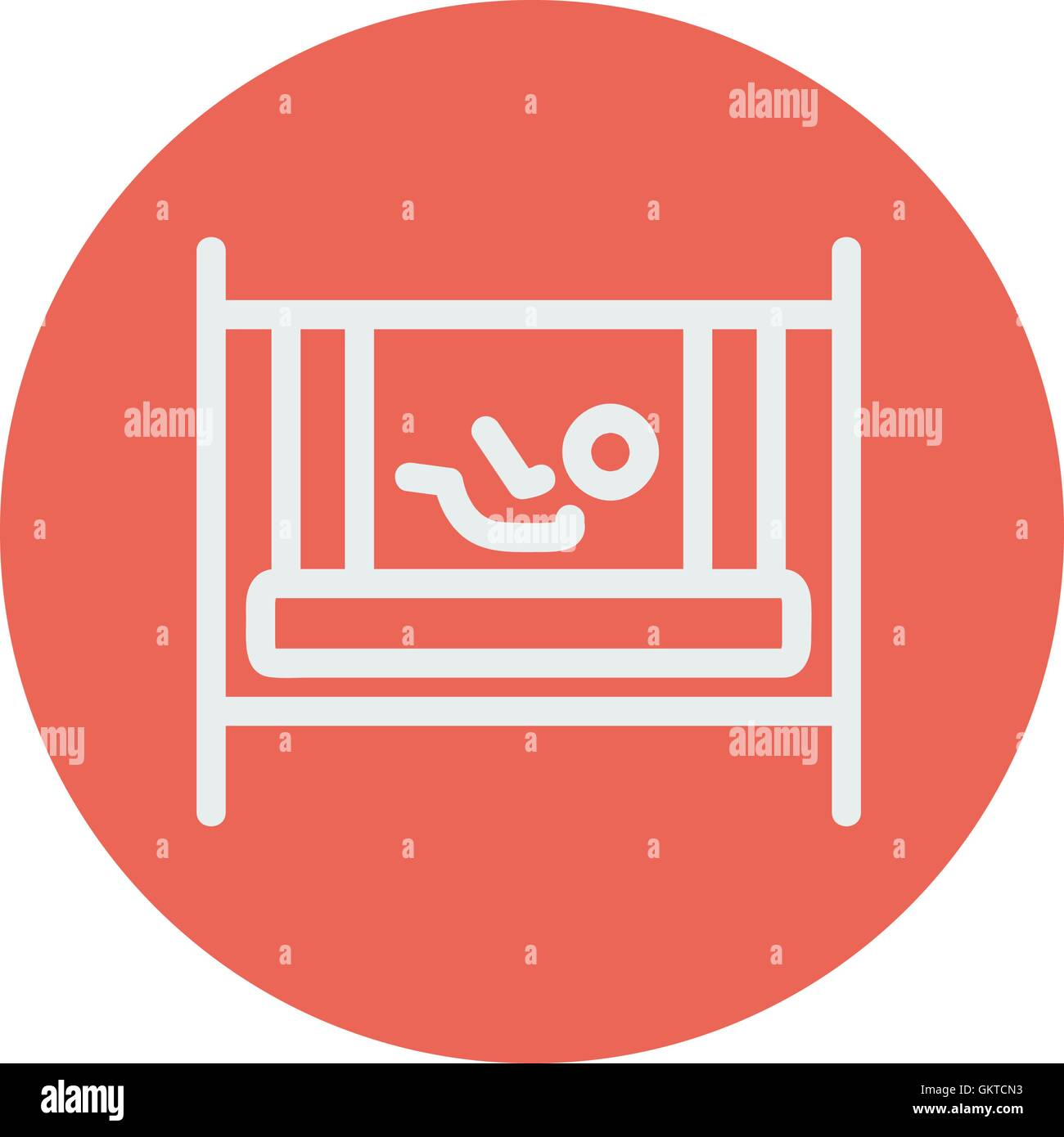 Baby inside the crib thin line icon - Stock Image