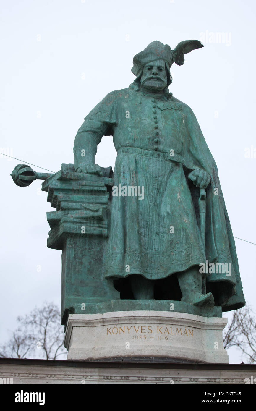 King Coloman of Hungary. Statue by Hungarian sculptor Gyorgy Zala on the Millennium Monument in the Heroes Square - Stock Image