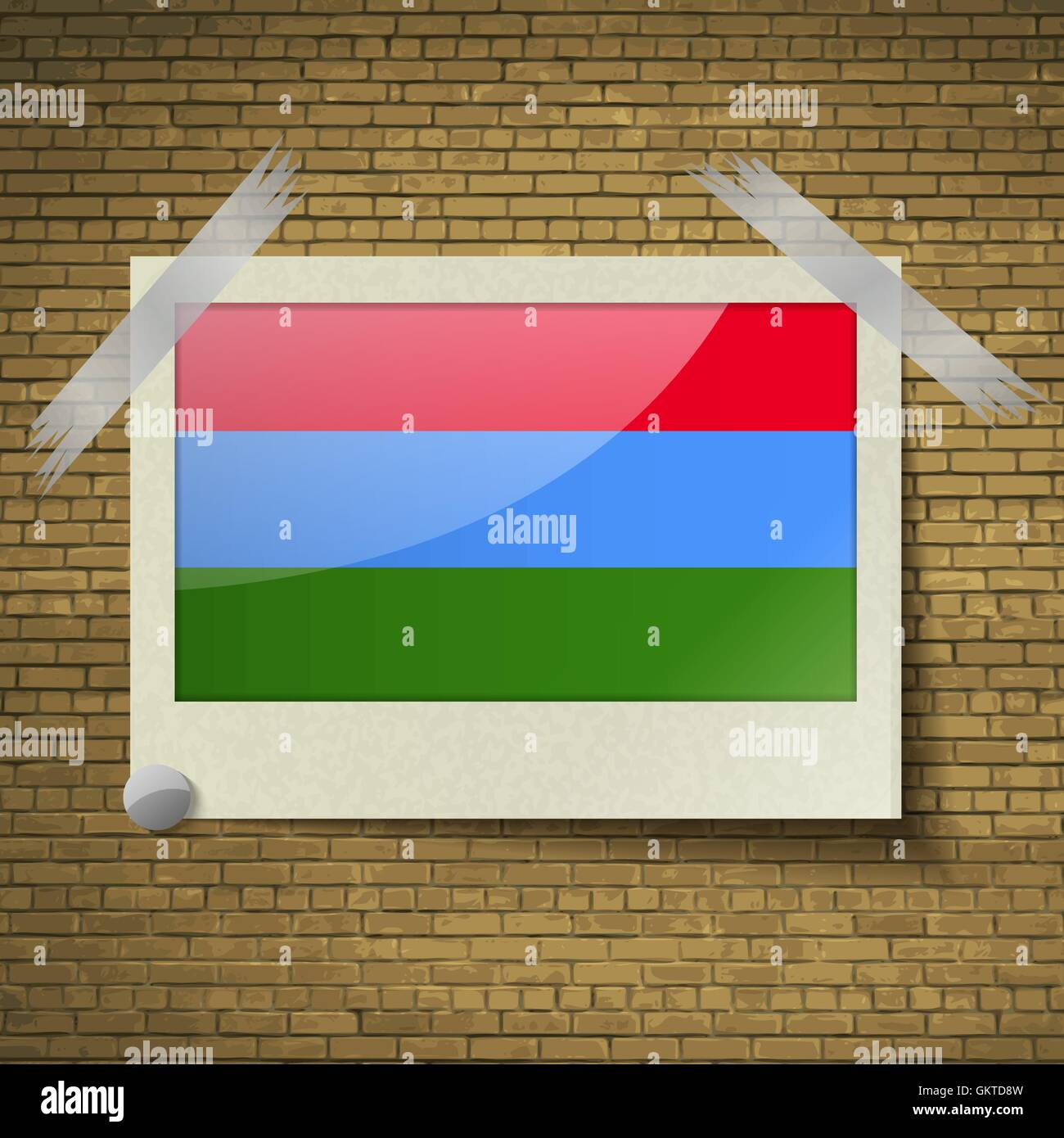 Flags Karelia at frame on a brick background. Vector - Stock Image