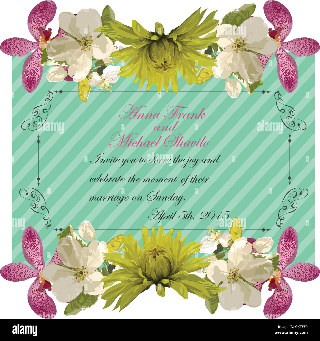 Floral Invitation Card With Beautiful Spring Flowers And Banner