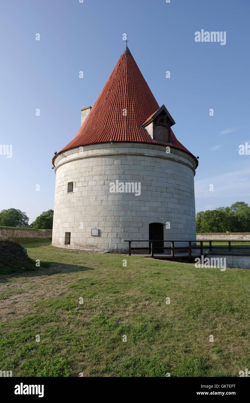 Kuressaare castle (Linnus) Cannon Tower of North Bastion. Island Saaremaa. Estonia - Stock Image