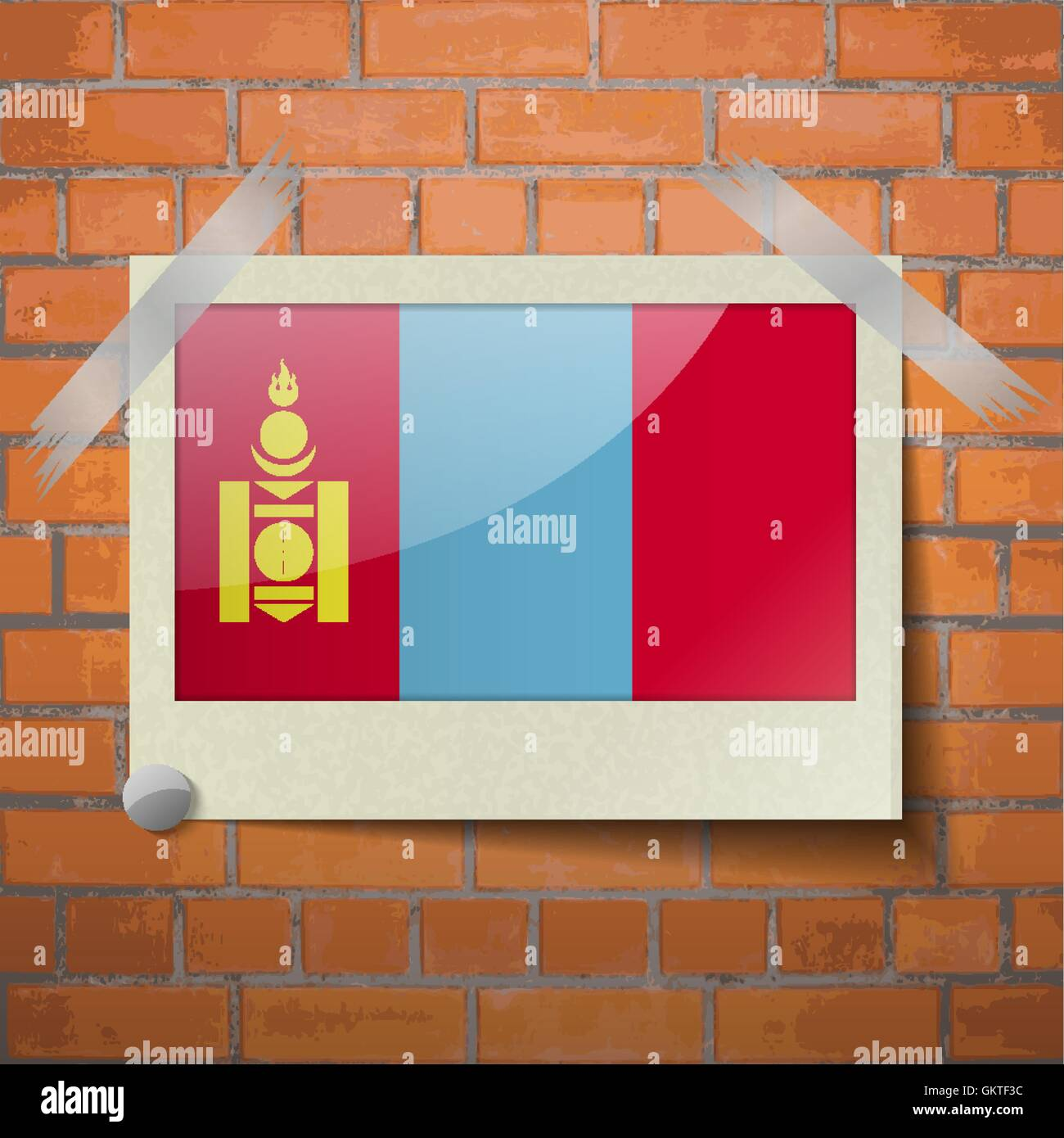 Flags Mongolia scotch taped to a red brick wall - Stock Vector
