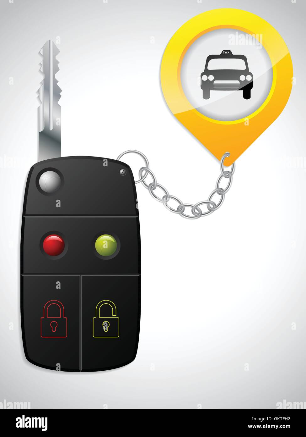 Car remote with taxi keyholder - Stock Vector