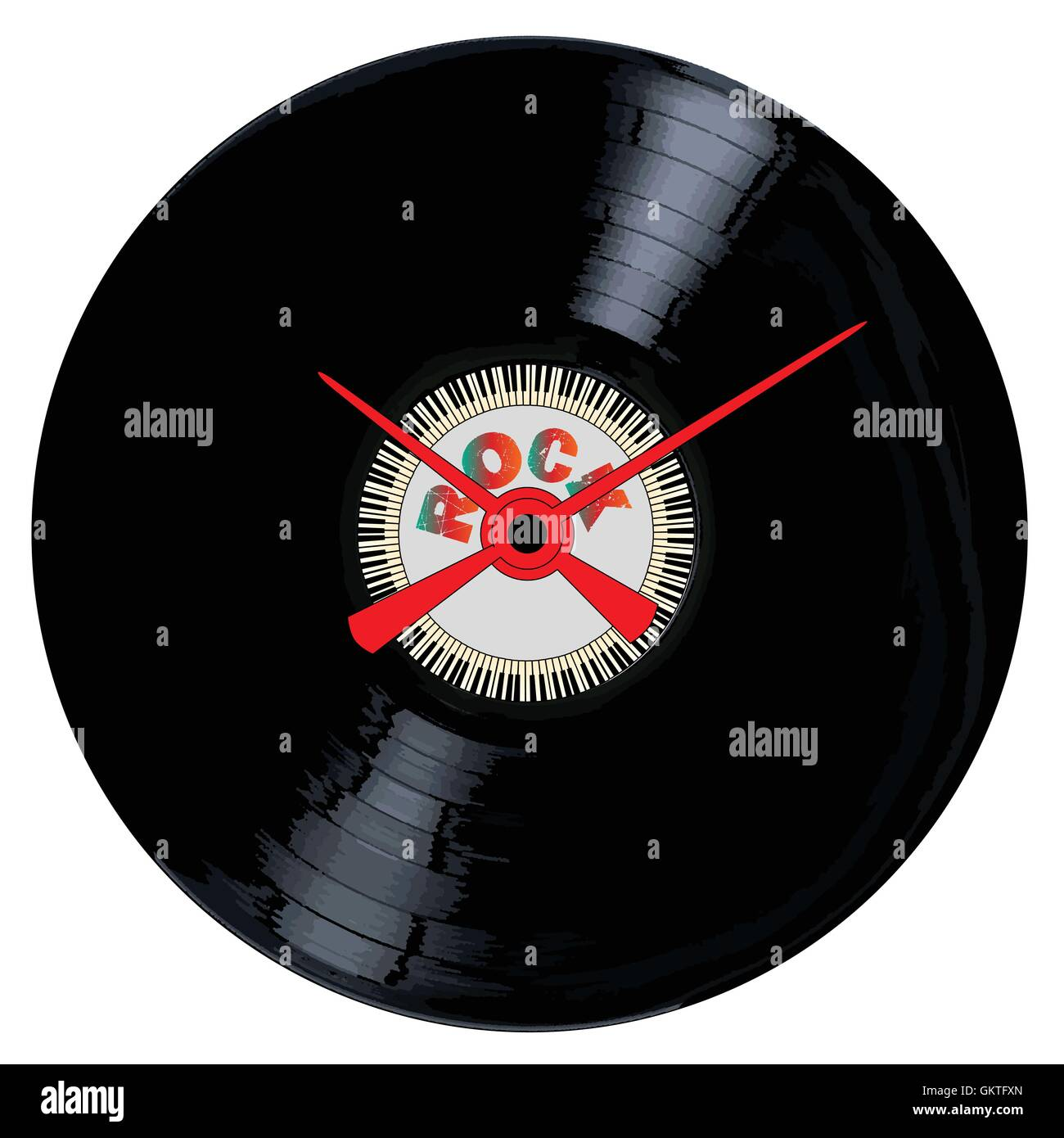 Rock Record Clock Face - Stock Image