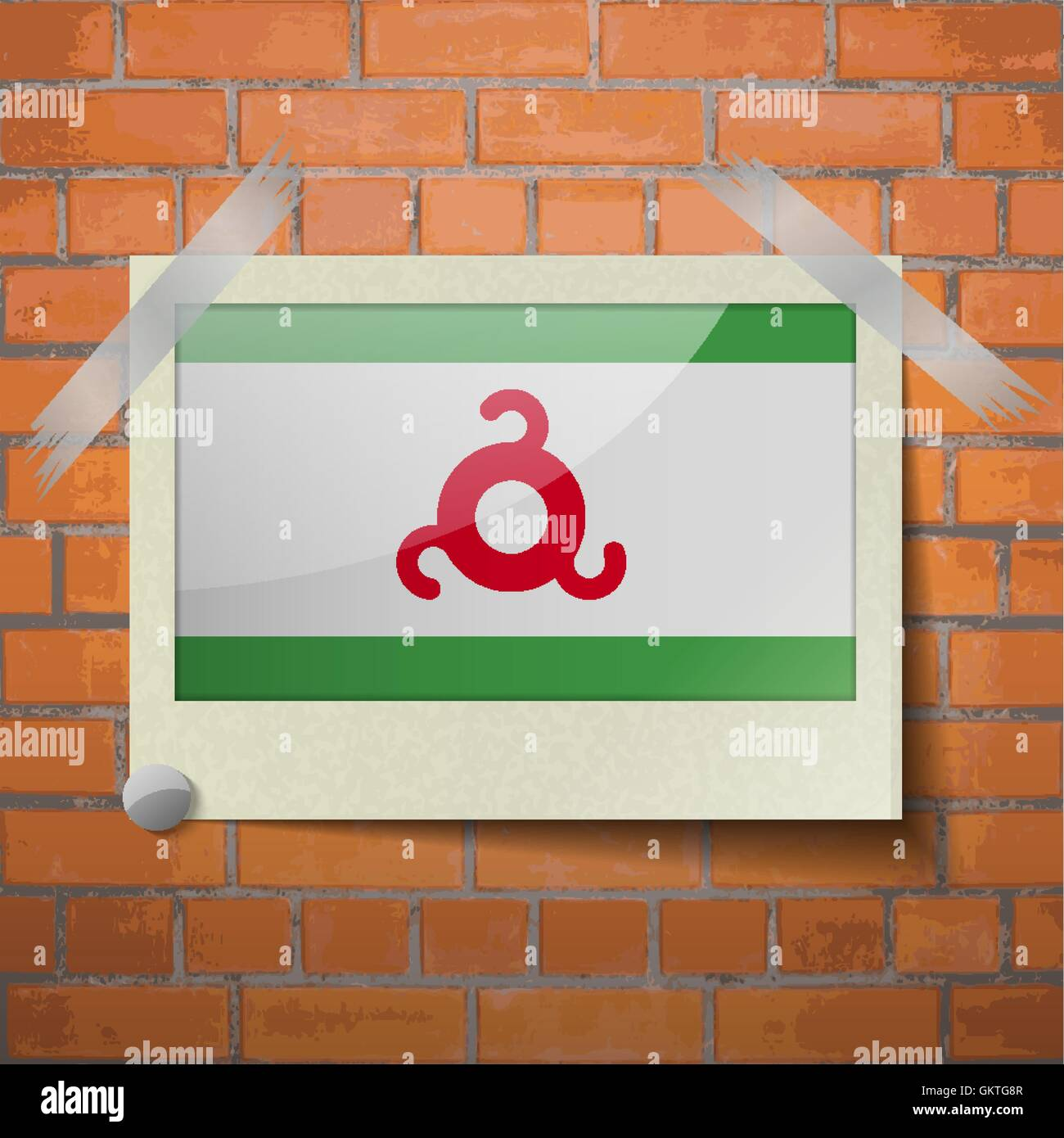 Flags Ingushetia scotch taped to a red brick wall - Stock Image