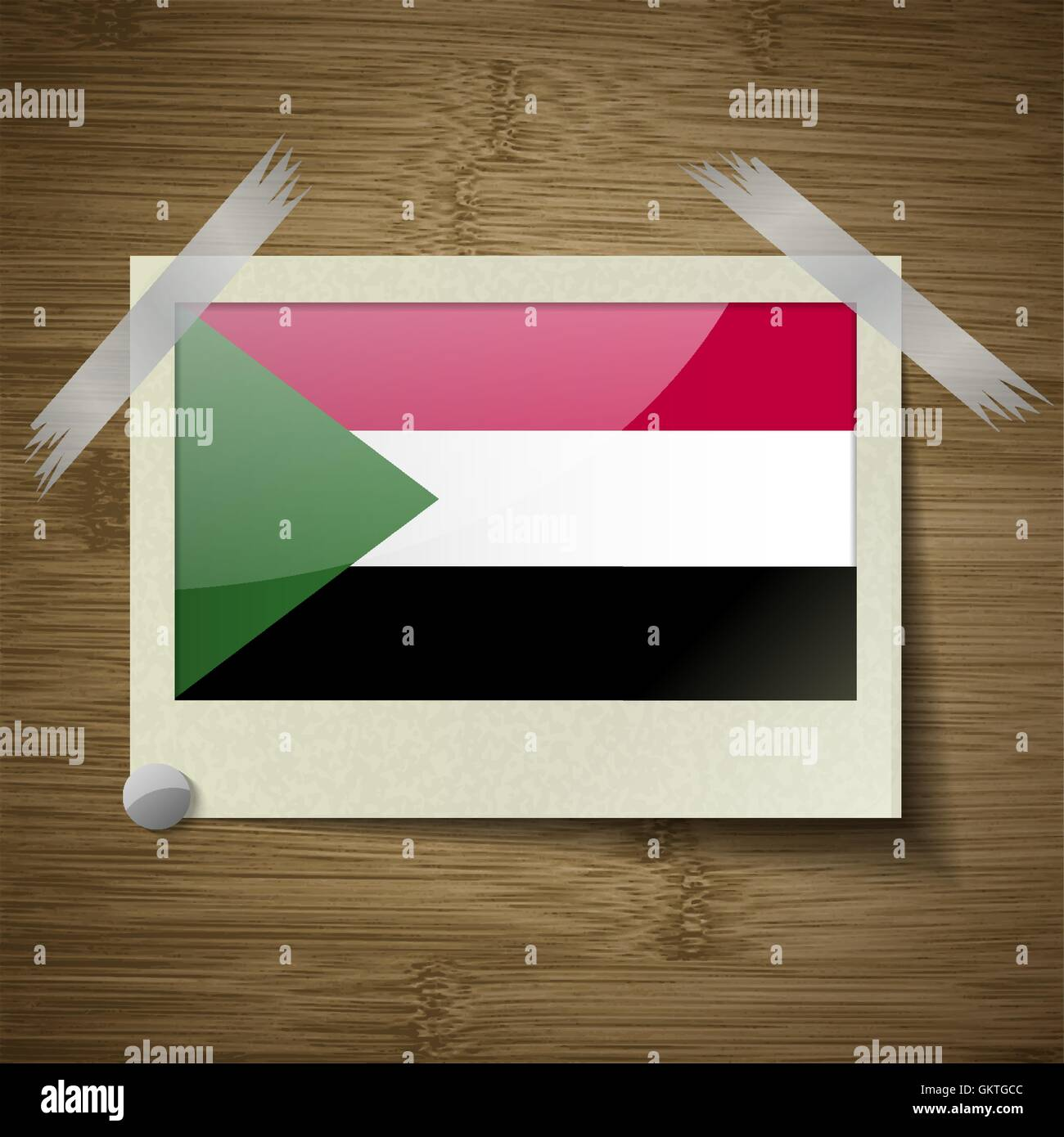 Flags Sudan at frame on wooden texture. Vector - Stock Vector