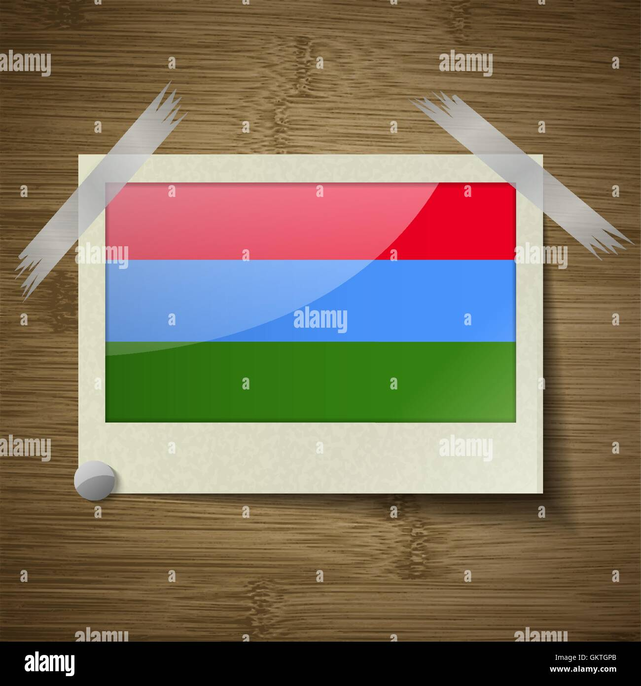 Flags Karelia at frame on wooden texture. Vector - Stock Image