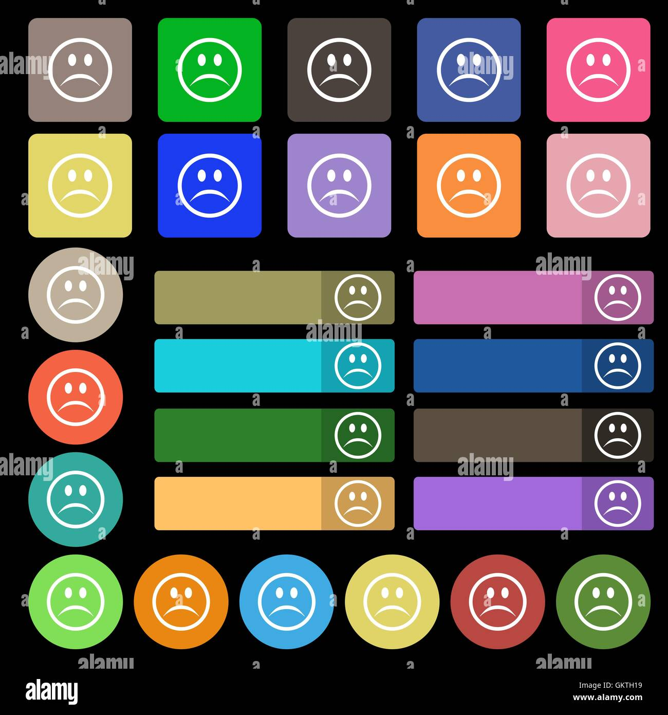 Sad face, Sadness depression  icon sign. Set from twenty seven multicolored flat buttons. Vector - Stock Vector