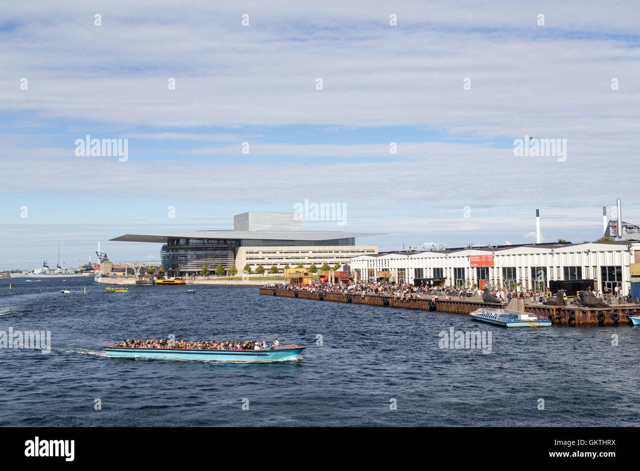 Copenhagen, Denmark - August 17, 2016: View of the harbor with the opera and paper island Stock Photo