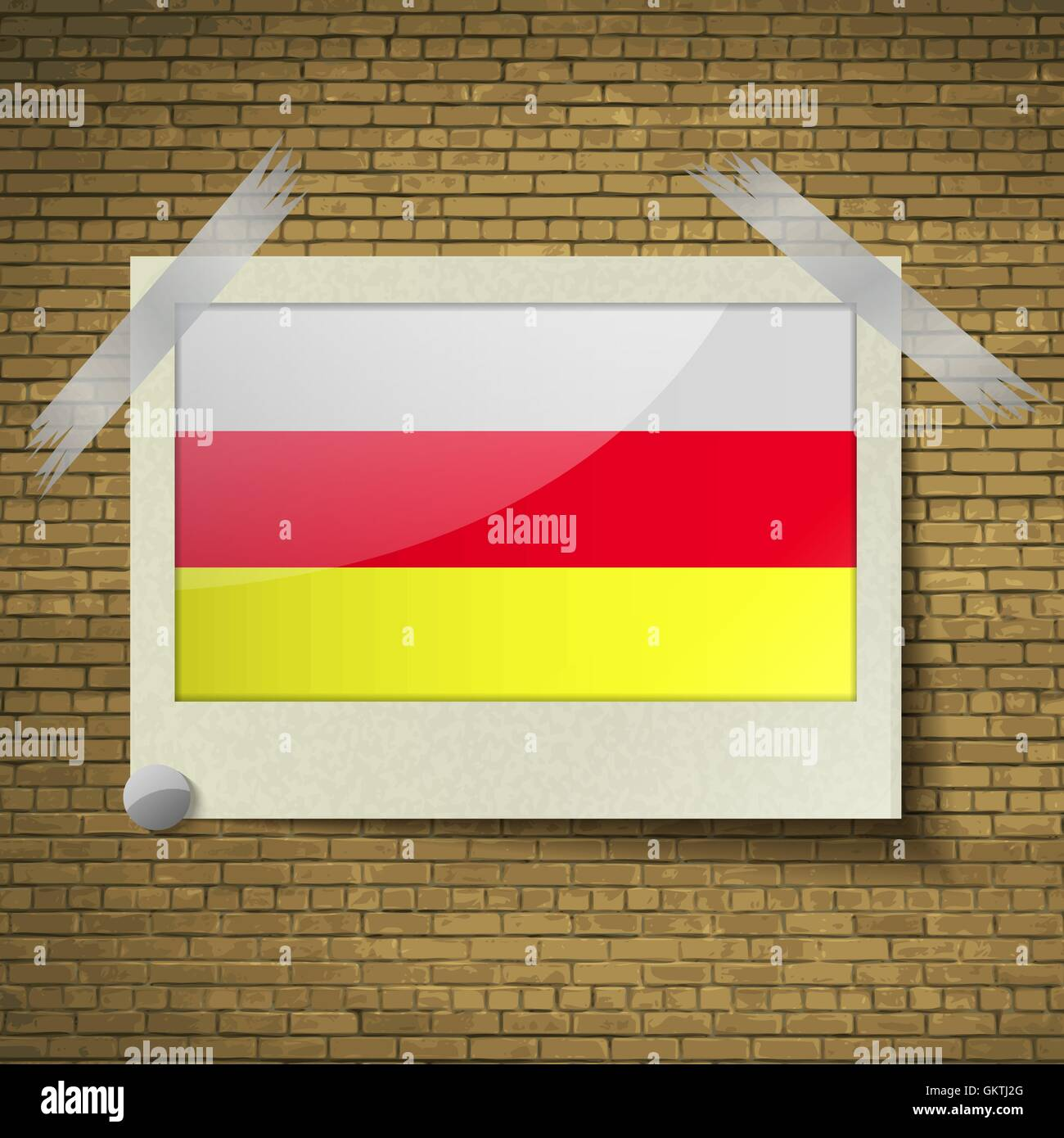 Flags North Ossetiaat frame on a brick background. Vector - Stock Image