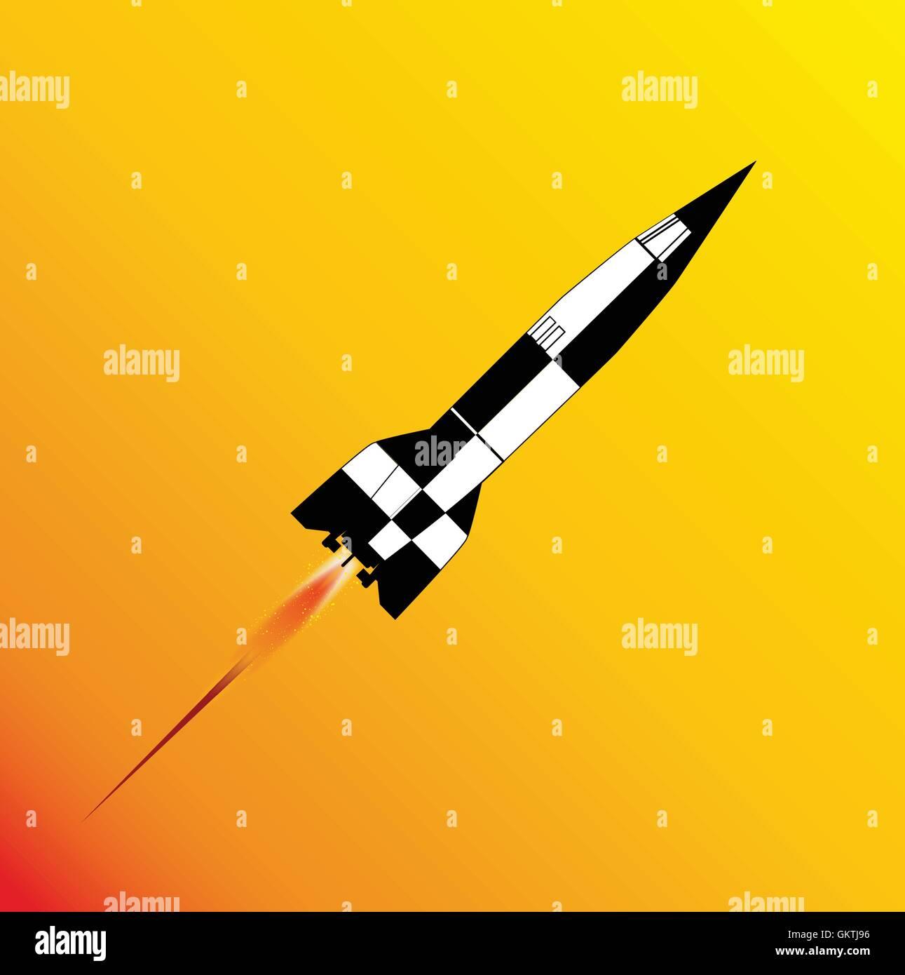 V2 Rocket Launch - Stock Vector
