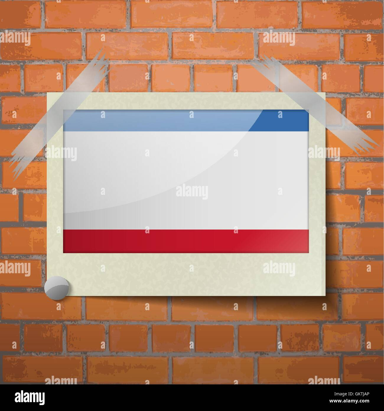 Flags Crimea scotch taped to a red brick wall - Stock Image
