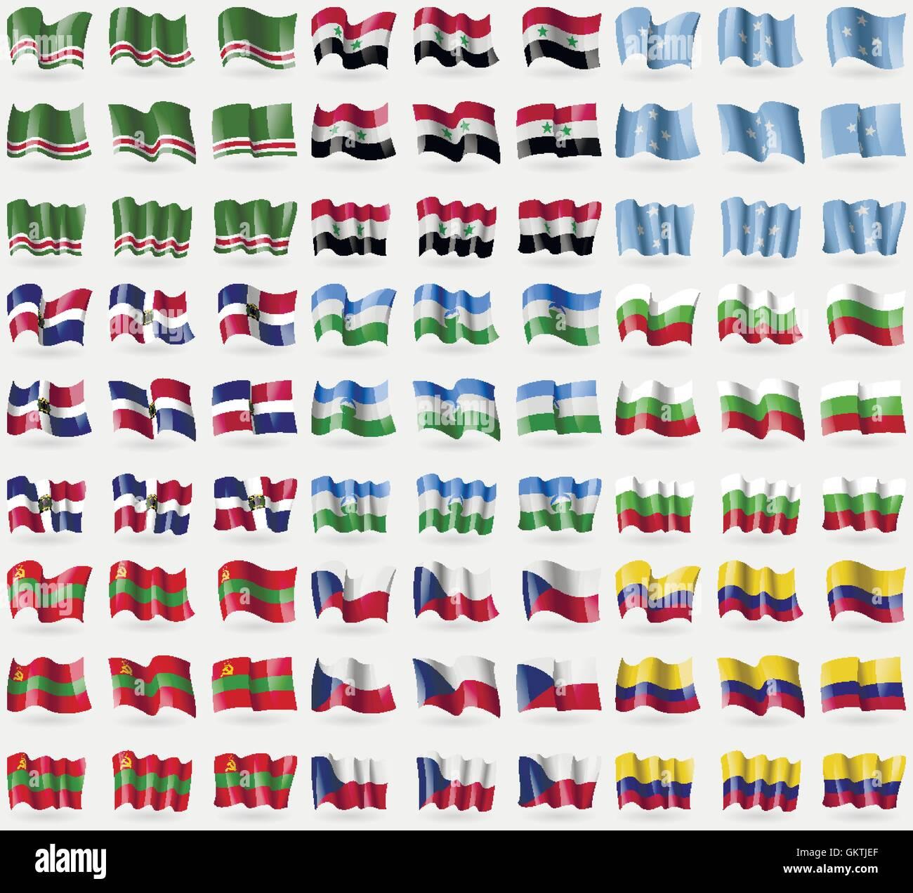 Chechen Republic of Ichkeria, Syria, Micronesia, Dominican Republic, KabardinoBalkaria, Bulgaria, Transnistria, - Stock Image