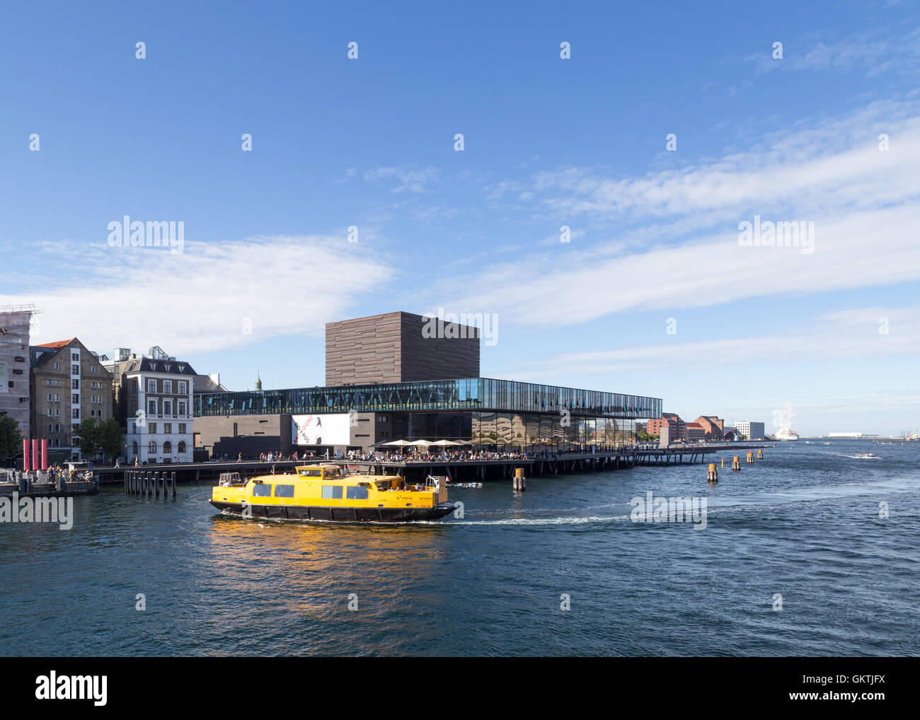 Copenhagen, Denmark - August 17, 2016: View of the harbor with the playhouse Stock Photo
