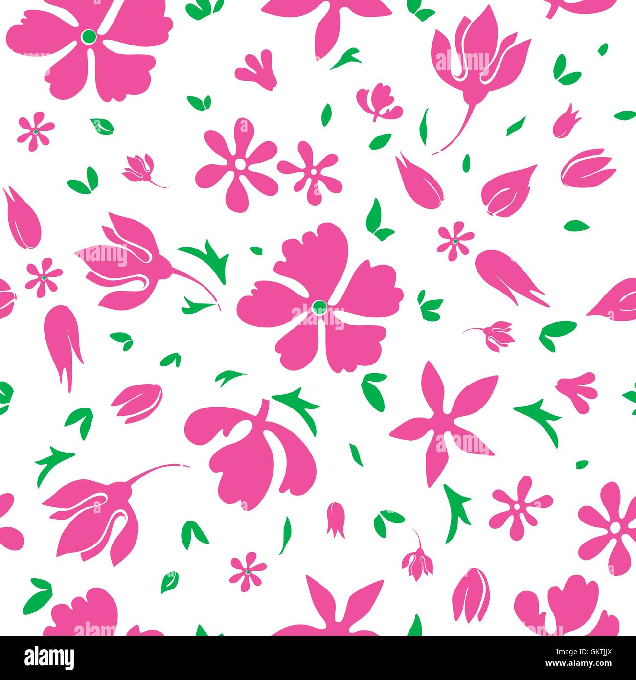 Vector Magenta Flowers Silhouettes Seamless Pattern - Stock Vector