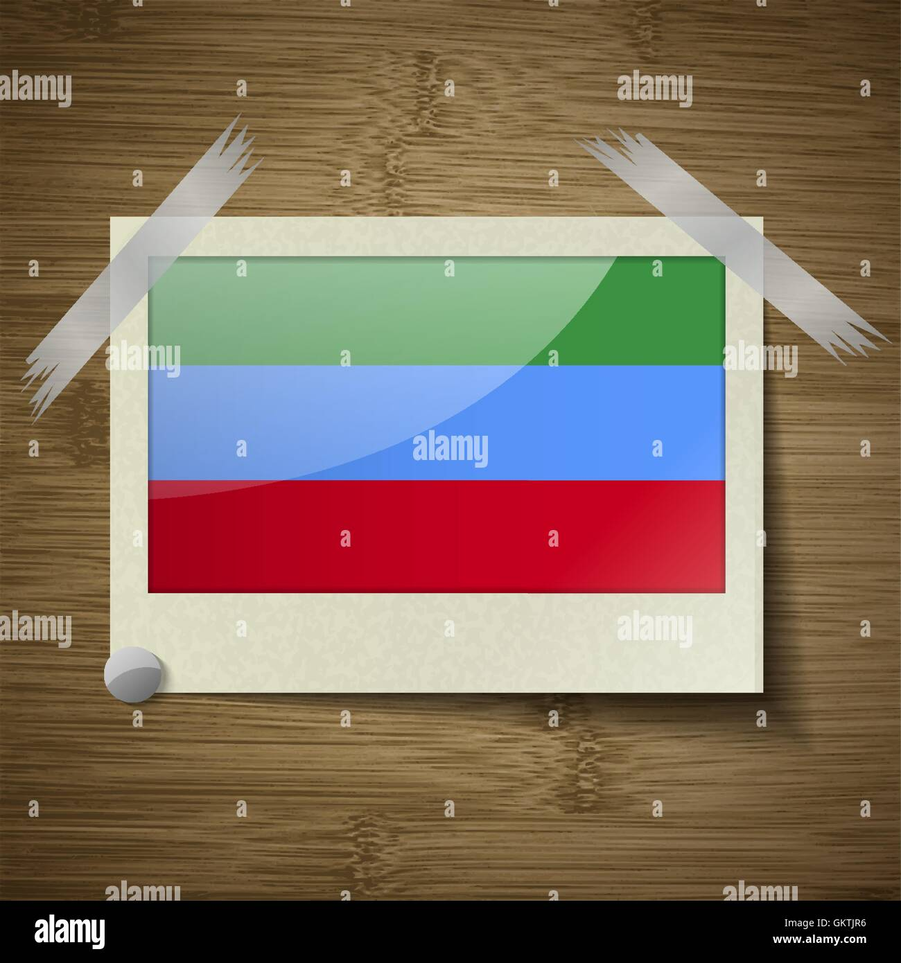 Flags Dagestan at frame on wooden texture. Vector - Stock Image