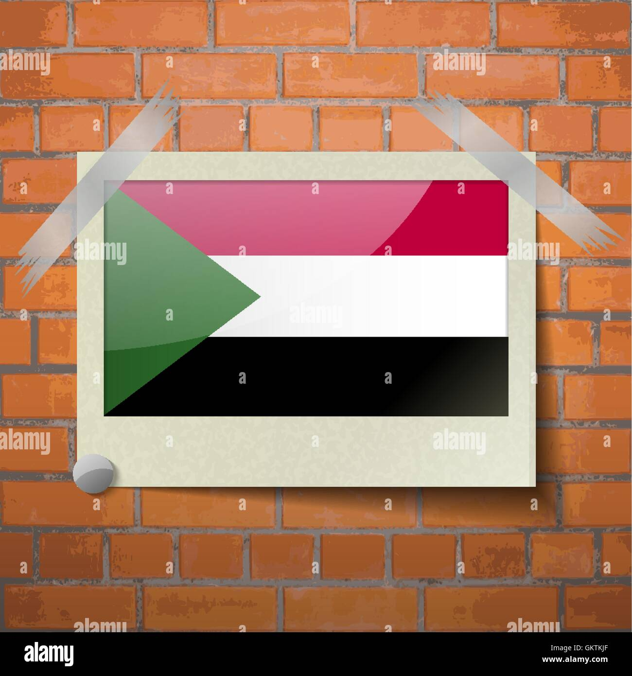 Flags Sudan scotch taped to a red brick wall - Stock Vector