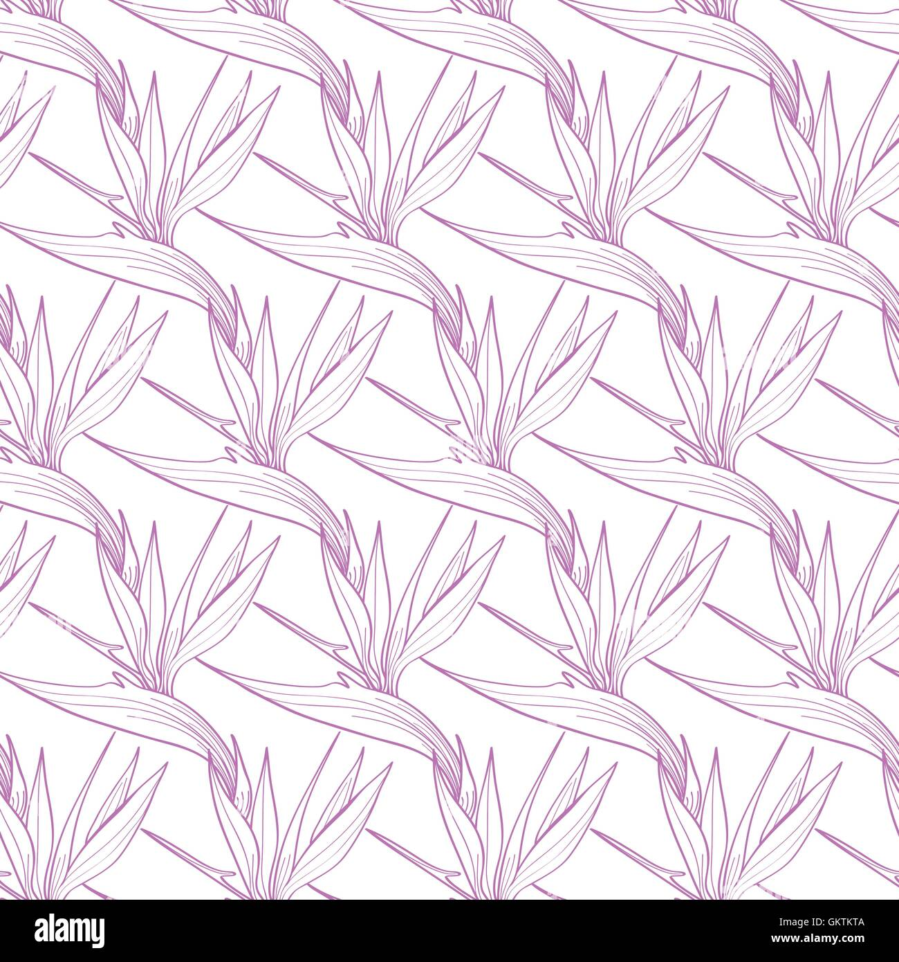 Vector Birds of Paradise Flowers Seamless Pattern - Stock Image