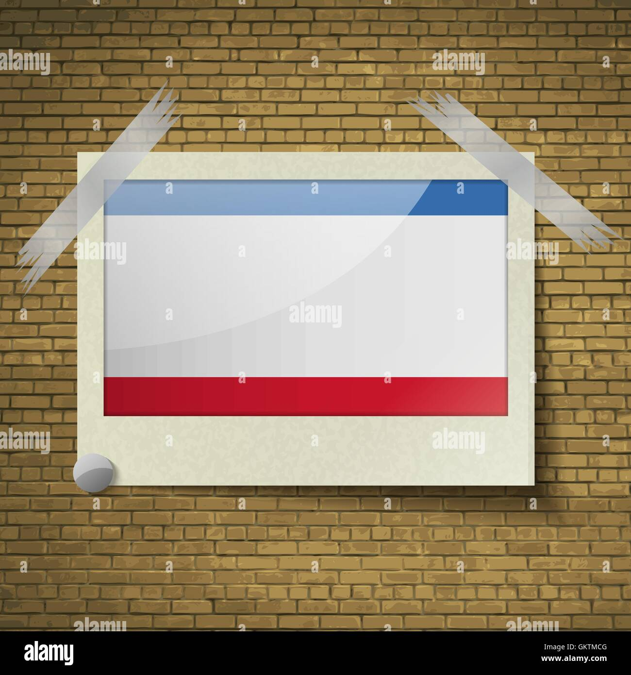 Flags Crimea at frame on a brick background. Vector - Stock Image