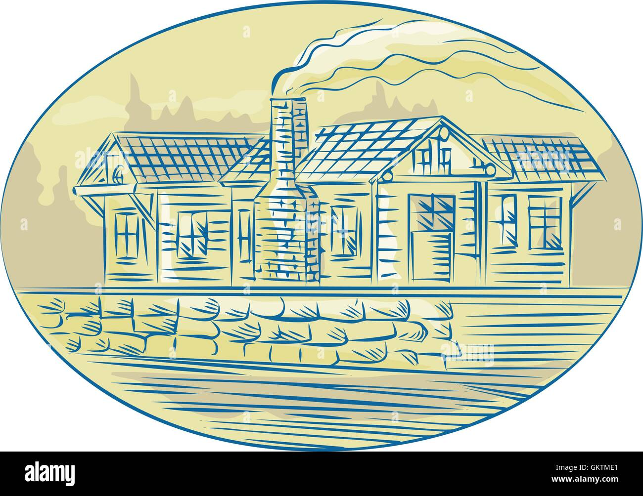 Log Cabin Resort Oval Etching - Stock Vector