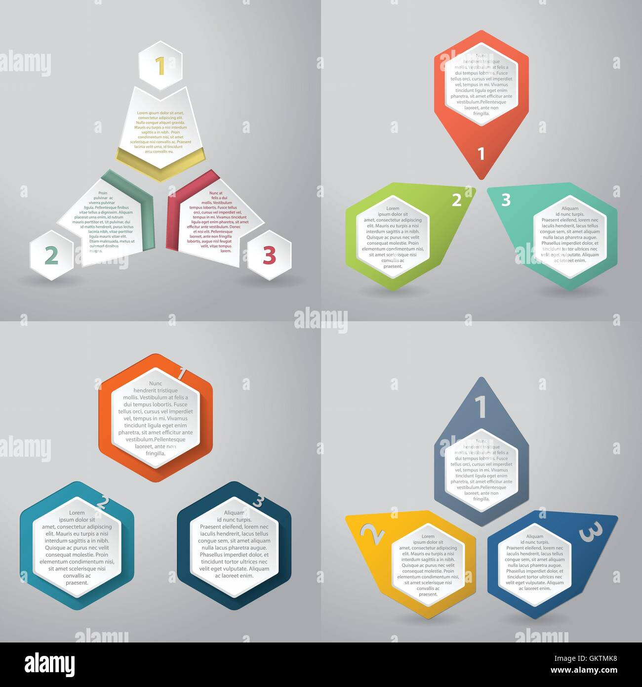 Abstract infographics background with hexagon elements Stock Vector