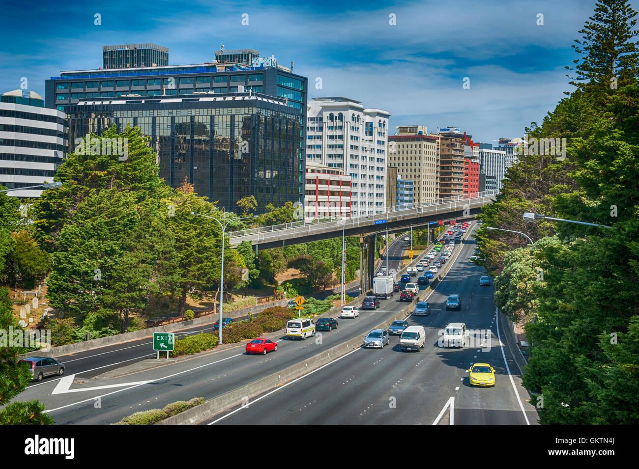 Wellington, New Zealand - March 3, 2016: View of Wellington Urban Motorway SH1 - Stock Image